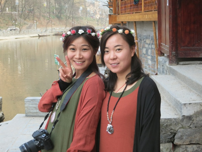 Two Chinese girls we meet along the river front - photo by Mike