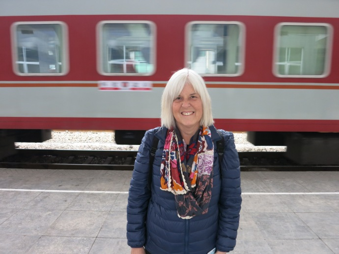 Me at the Jishou train station - photo taken by Mike
