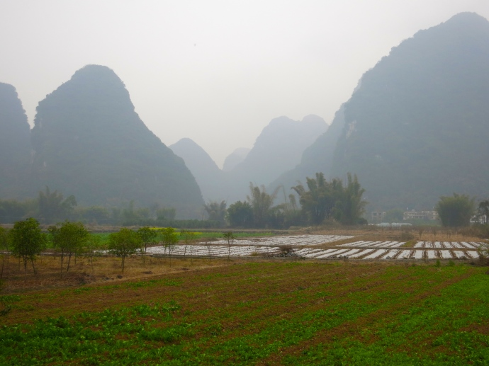 The Yangshuo countryside during a rainy bike ride