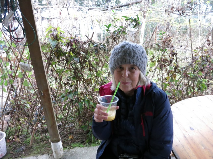 Me sipping on a passion fruit drink (Photo by Mike)