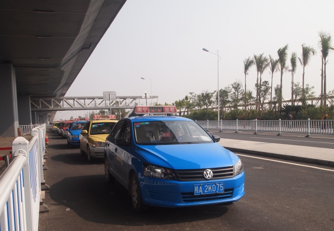 the taxi stand at the airport