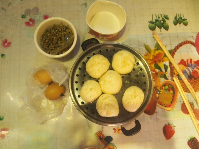 Our breakfast: boiled eggs and pork dumplings dipped in chopped green chili