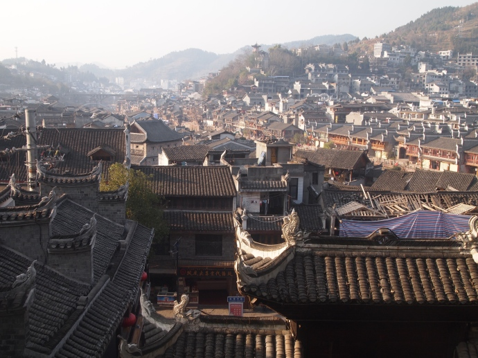 View of the rooftops of Fenghuang from the Phoenix Pedestal