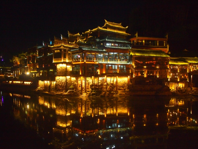 Nighttime views of Fenghuang along the Tuo Jiang