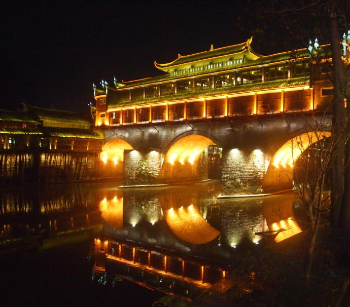 Nighttime along the Tuo Jiang River