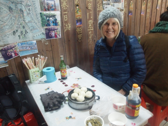 me in our favorite breakfast place in Fenghuang