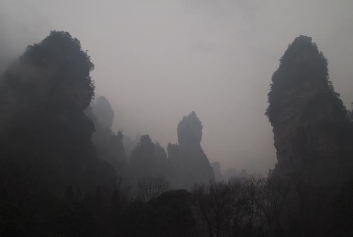 Limestone karst formations at Zhangjiajie