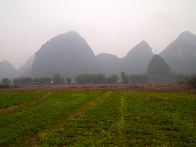 Farmland and karst landscape