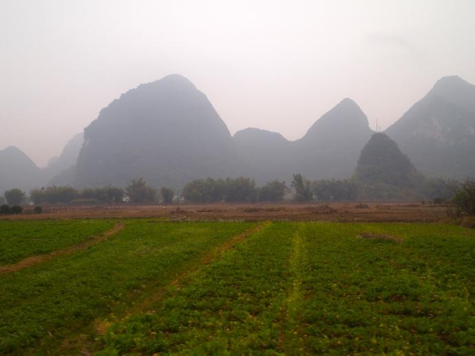 Farmland and karst landscape