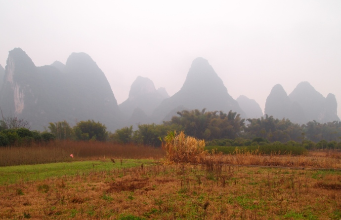 fields and pointed mountains