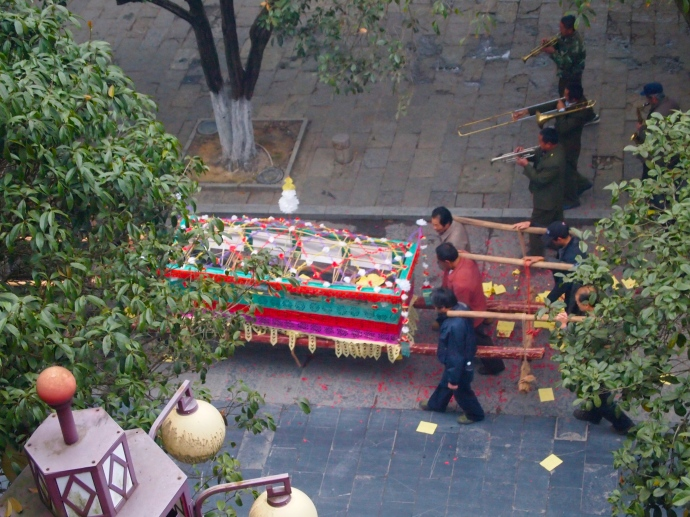 a morning funeral procession