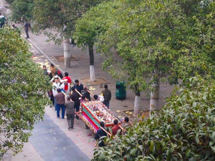 the procession on the streets of Yangshuo