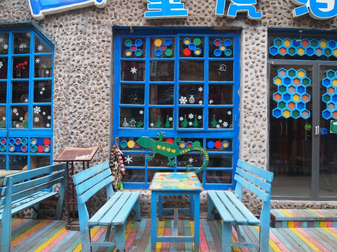 colorful cafe in town