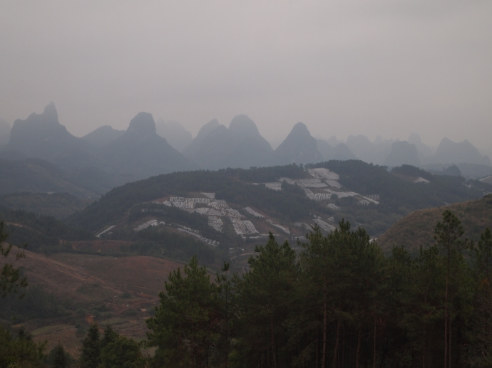 the drive through the countryside north of Yangshuo