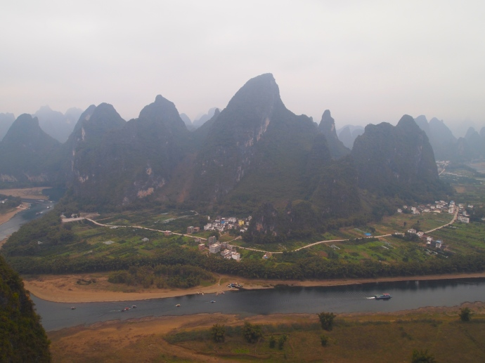 Looking across the Li River from Xianggang Hill to the villages