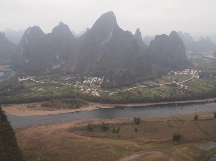Village across the Li River form Xianggong Hill