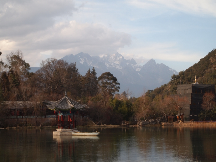 Black Dragon Pool with Jade Dragon Snow Mountain in the distance