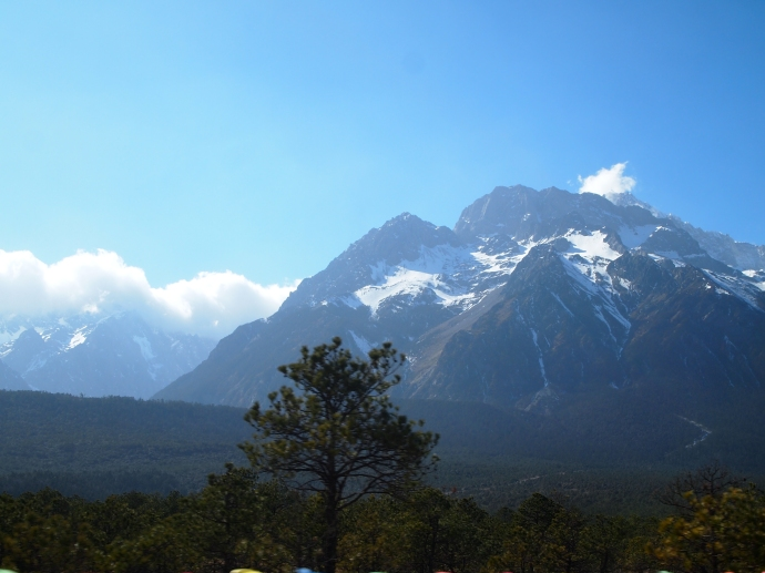 On the drive back from Mirror Lake - last views of Jade Dragon Snow Mountain