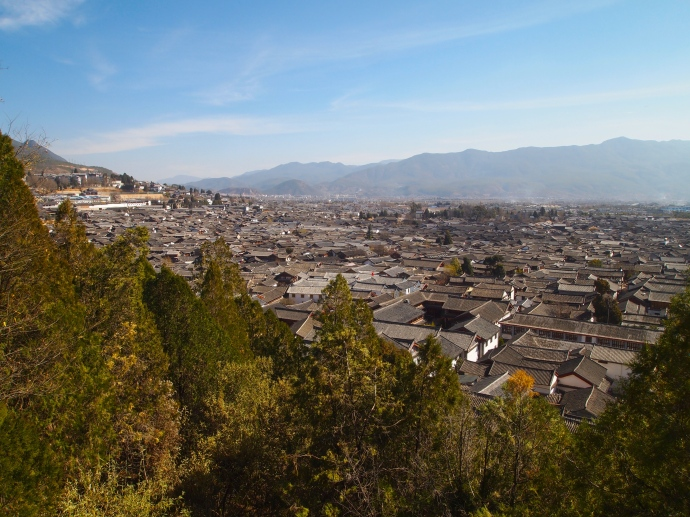 View of rooftops of Lijiang's old town