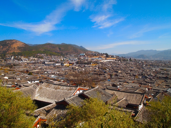 The town of Lijiang from Lion Hill