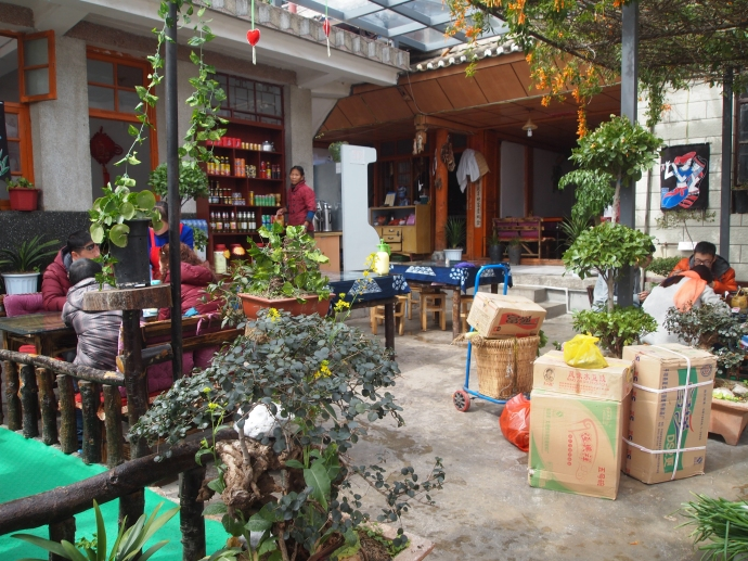 Courtyard of the restaurant near Erhai Lake