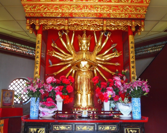 the octagonal pavilion in the center is dedicated to a multi-armed Guanyin