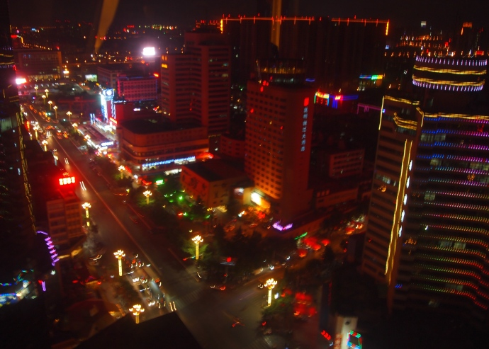 Downtown Kunming at night from our room at Kai Wah Plaza