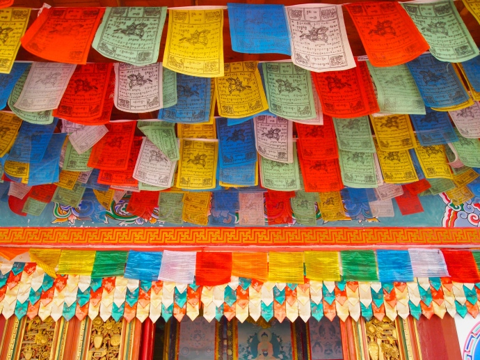 Prayer flags at the Buddhist temple at the Yunnan Nationalities Village
