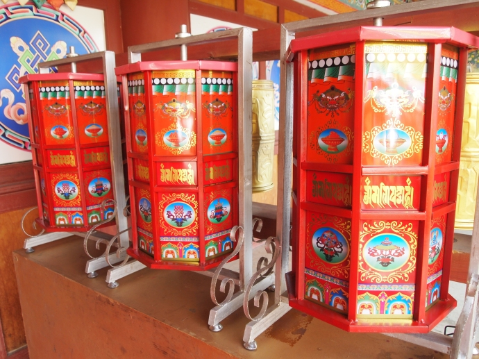 Prayer wheels at the Buddhist temple at Yunnan Nationalities Village