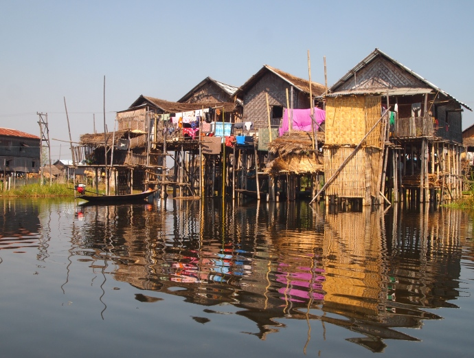 stilt houses in the floating gardens of Inle Lake, Myanmar