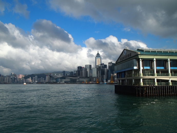 Looking back at the Hong Kong skyline from the Star Ferry