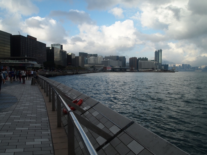 Curving promenade along Victoria Harbour