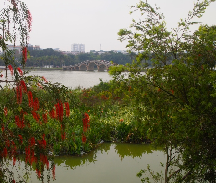 The view over Nanhu Lake to the bridge and beyond