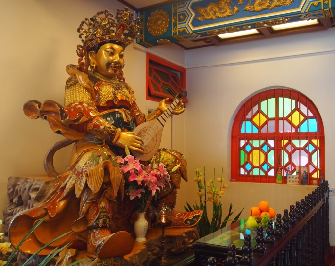 Inside a hall at Po Lin Monastery