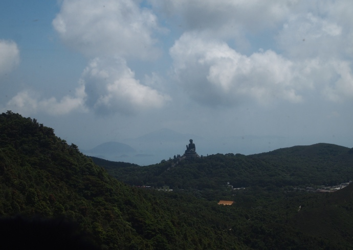 view of the Big Buddha from the Ngong Ping Cable Car