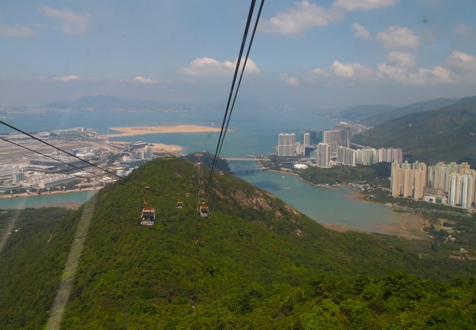 Coming in to Tung Chung on the Ngong Ping Cable Car