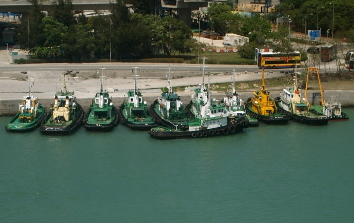 Boats below the Ngong Ping Cable Car