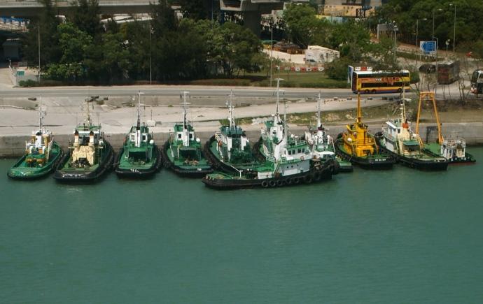 Boats below the Ngong Ping Cable Car