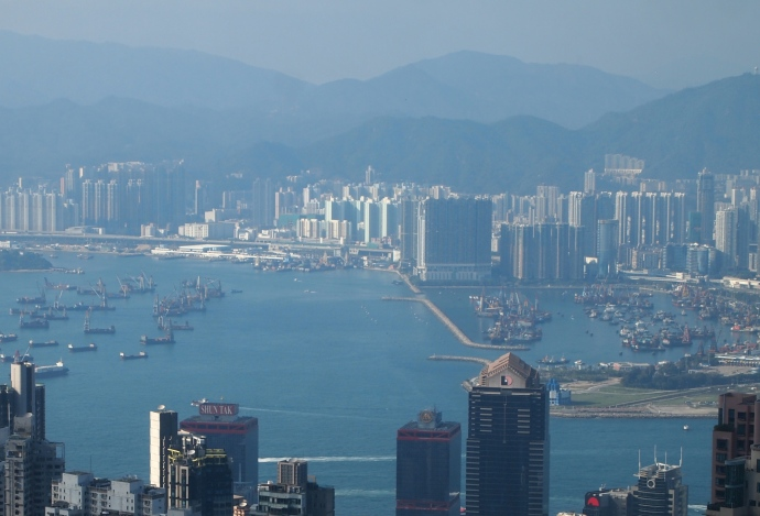 looking west across Victoria Harbour to Kowloon