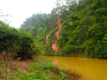 the muddy river with red cliffs