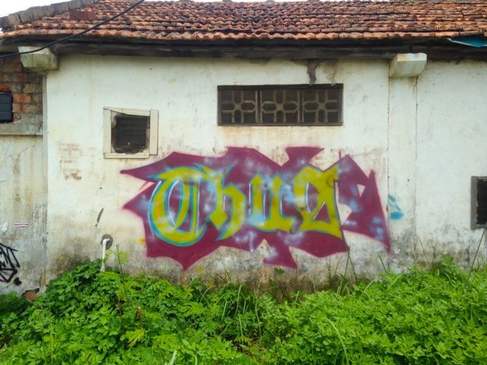 Graffiti on old buildings on the Agricultural College campus