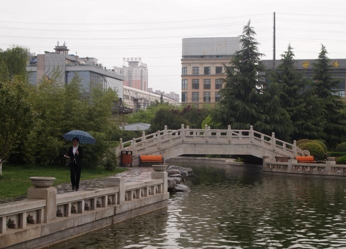 Pond and bridge at Small Wild Goose Pagoda