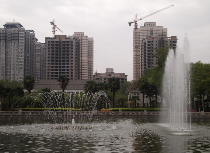 Fountains in the pond