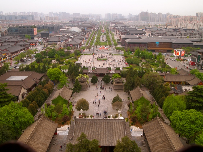 View of Xi'an from Big Wild Goose Pagoda