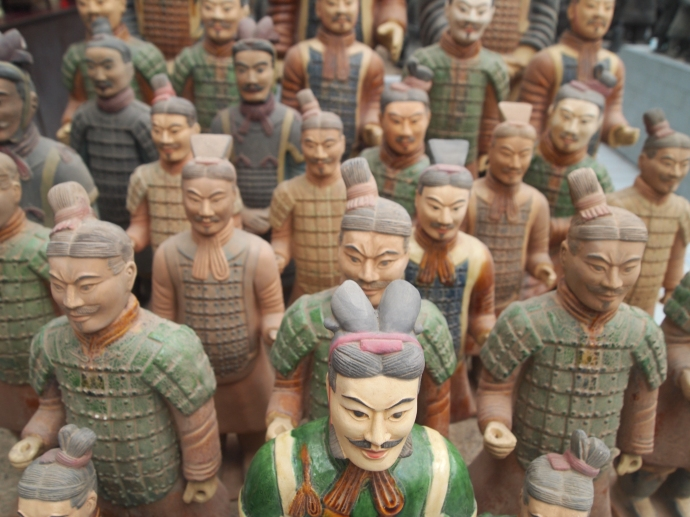 terra cotta warriors in the colors they might have been originally
