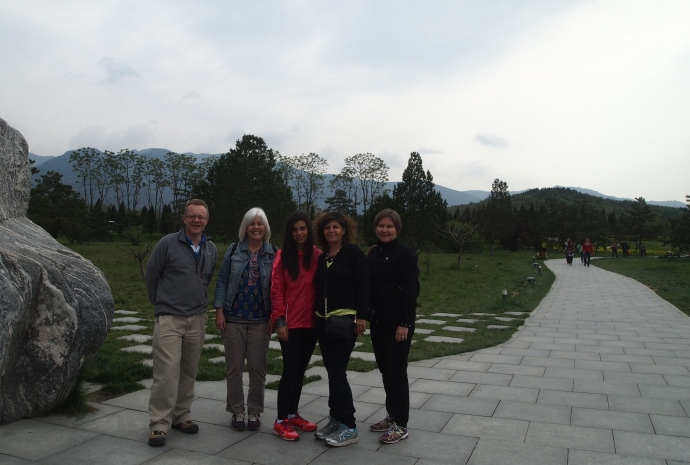 Our group at the Tomb of Qin Shi Huang: L to R: Andrew, me, Mayan, Dahlia, and Mari