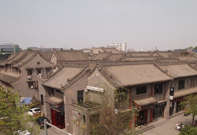 The view into downtown Xi'an (inside the walls) from the top of the wall