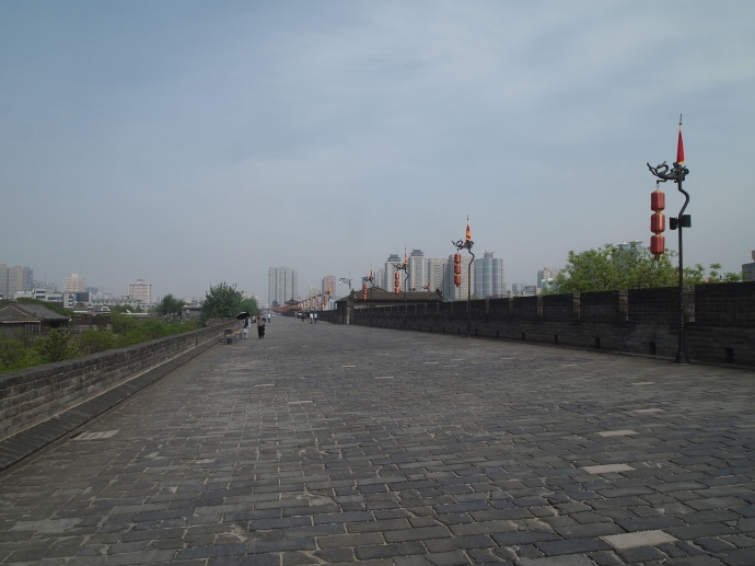 at the top of the Xi'an city walls
