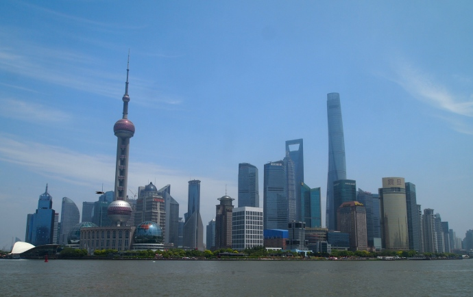 skyscrapers in Pudong, including the Oriental Pearl TV Tower and the elegant Jinmao Tower
