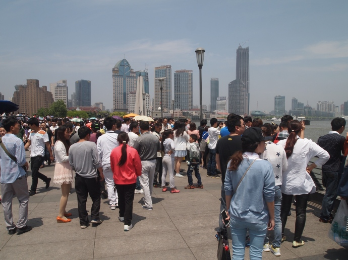 Crowds on the Bund's promenade